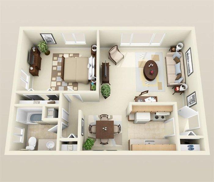 Xu hướng thiết kế căn hộ 1 phòng ngủ cho cặp đôi mới cưới