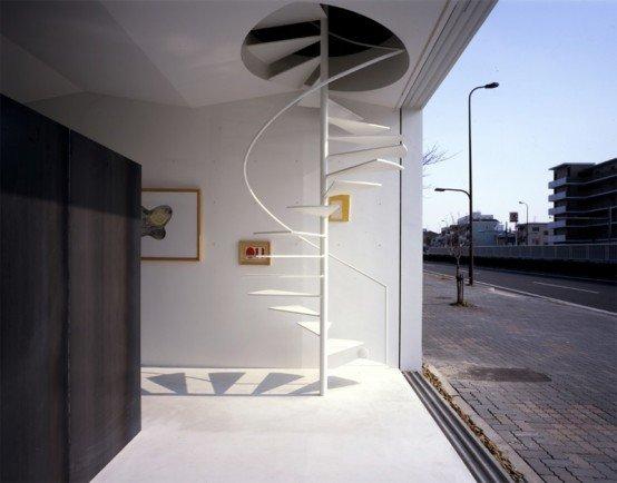 u thang xoắn ốc cong này là ví dụ tuyệt vời về mức độ tối giản mà chúng có thể có. Họ được đặt tại Nhà ở Nagoya 01 thiết kế Giả thiết Thiết kế Văn phòng.
