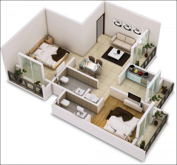 20 ý tưởng thiết kế mẫu căn hộ 2 phòng ngủ đẹp cho vợ chồng trẻ thumbnail