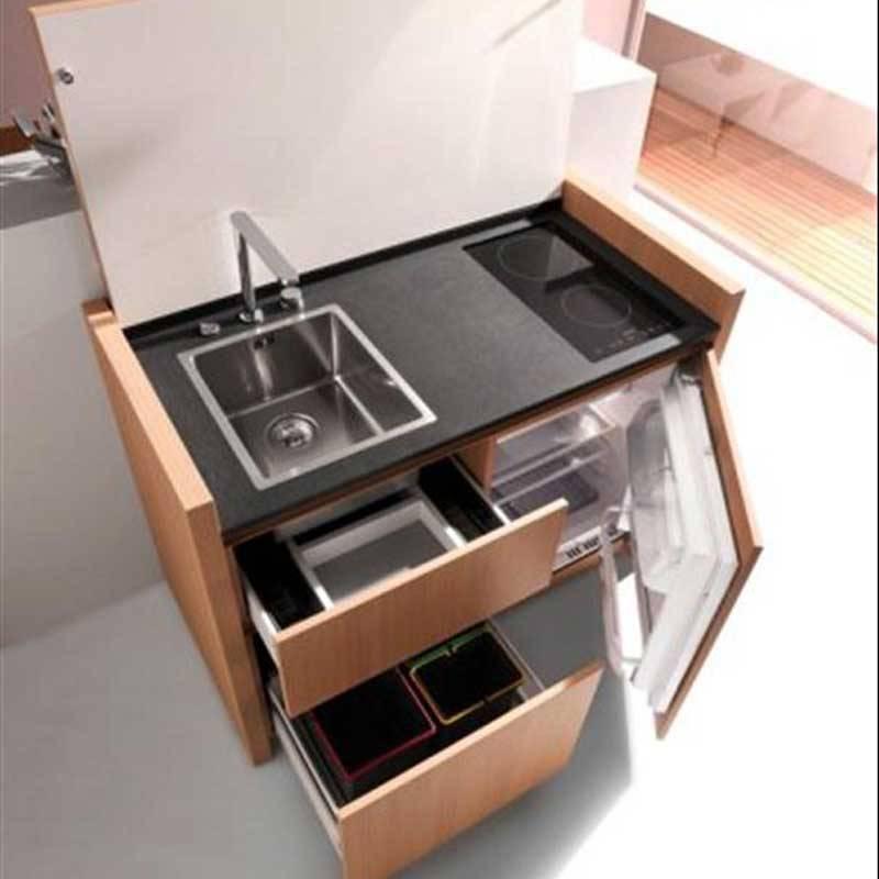 9 ý tưởng thiết kế nội thất cho không gian bếp nhỏ đẹp -Chiếc tủ đẹp hơn khi kết hợp bếp điện từ âm