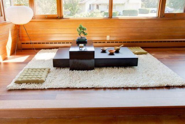 Người Nhật rất biết mang văn hóa của đất nước xứ sở mình vào trong chính căn nhà của mình với kiểu phòng khách ngồi bệt đặc trưng