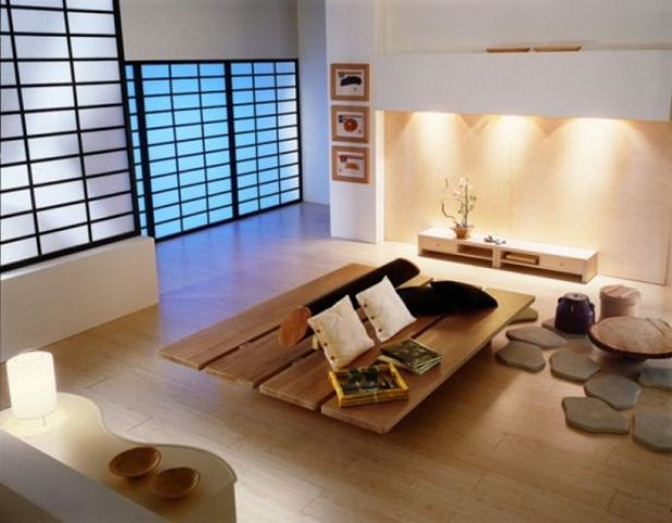 Vật liệu trang trí bằng gỗ rất được ngừoi Nhật ưu ái trong việc bố trí đồ nội thất cho phòng khách