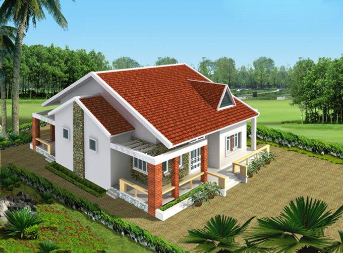 Mẫu thiết kế nhà 1 tầng 50m2 02