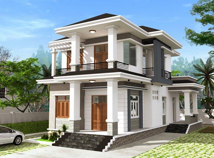 Tổng thể mẫu thiết kế nhà 2 tầng mặt tiền 8m
