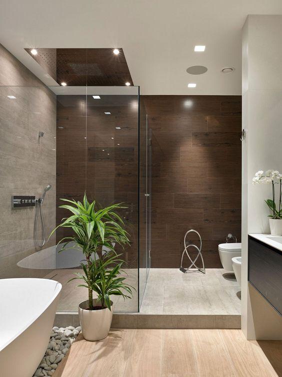 Cây cảnh và cây lan phong phú thêm cảm giác sang trọng của người Nhật đến phòng tắm hiện đại