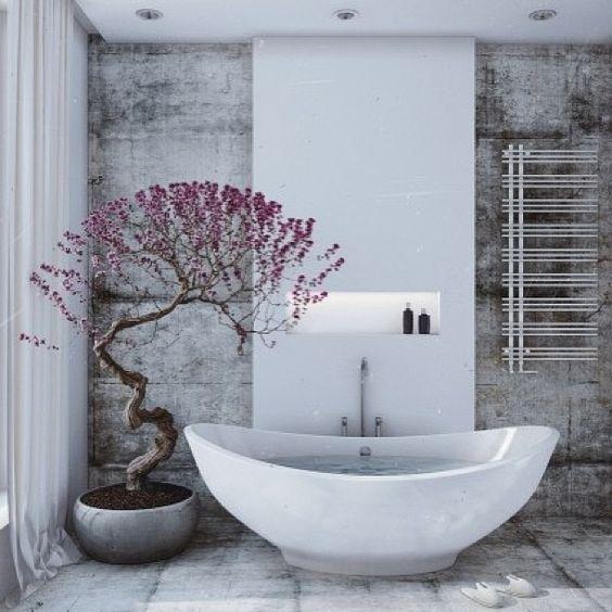 Cây nhỏ chậu cho một phòng tắm lấy cảm hứng từ Nhật Bản