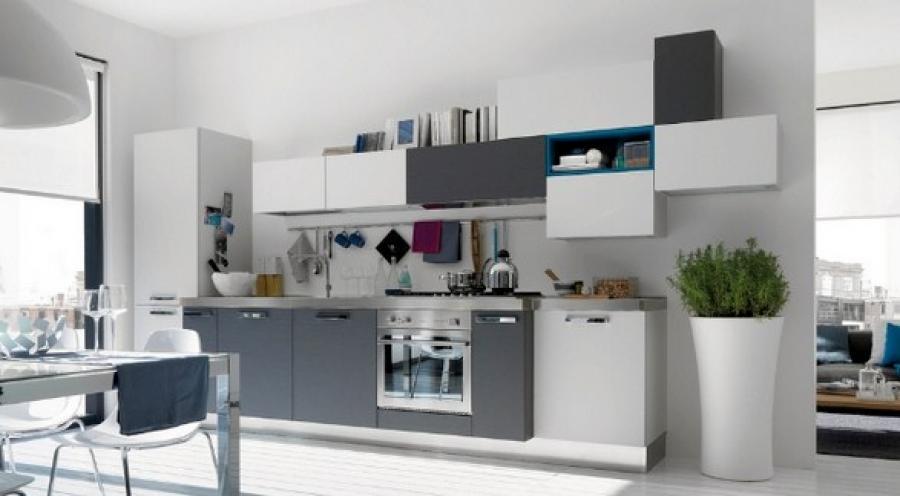 Màu ghi lạnh cũng là sự lựa chọn của đông đảo gia chủ trong thiết kế tủ bếp đẹp