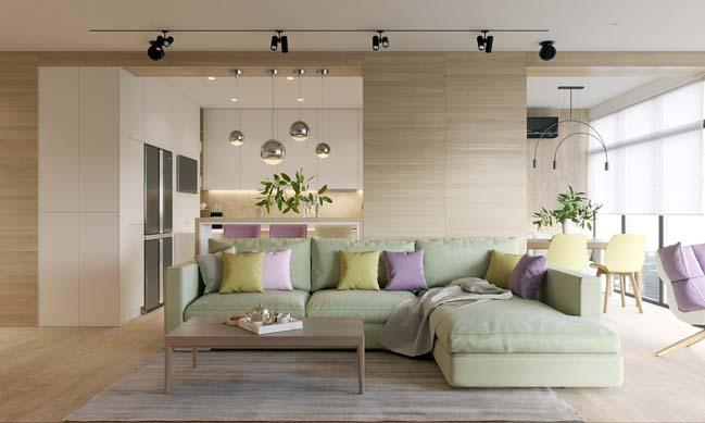 Mẫu nội thất căn hộ nhỏ bằng gỗ với tông màu Pastel nổi bật thumbnail