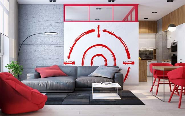 Thiết kế nội thất chung cư hiện đại với điểm nhấn màu đỏ nổi bật thumbnail