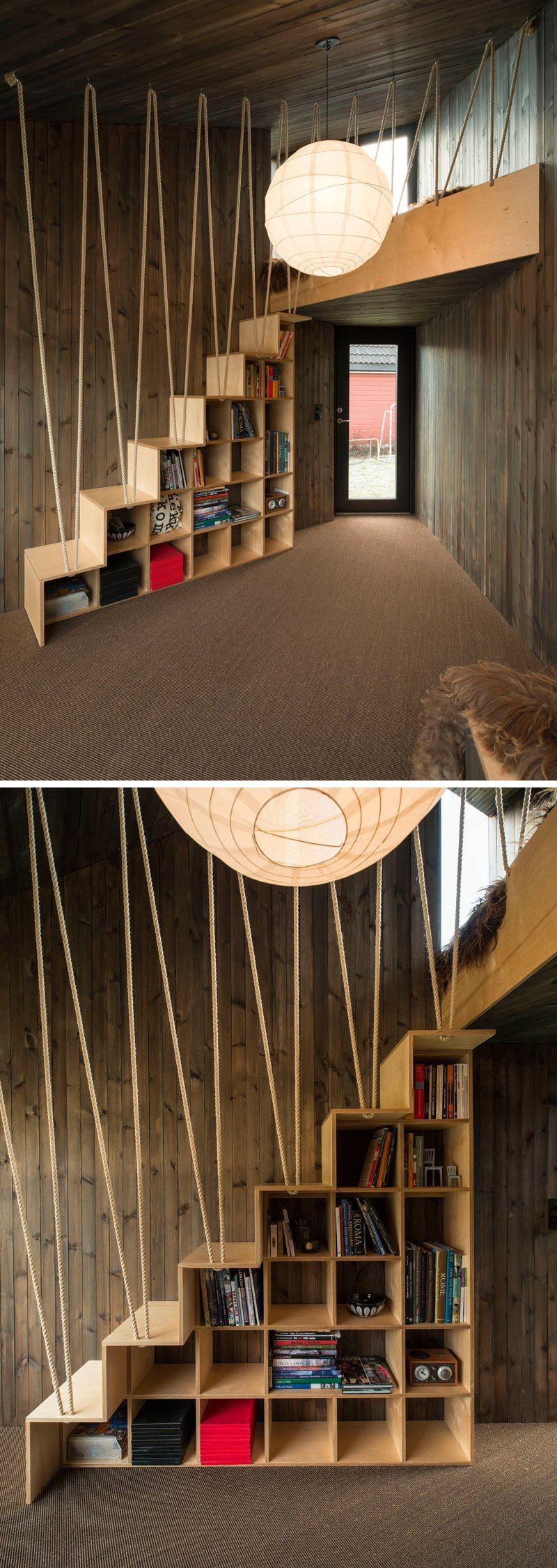 ý tưởng thiết kế lan can cầu thang bằng dây thừng đầy sáng tạo