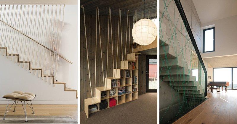 6 ý tưởng cầu thang đẹp với lan can làm bằng dây thừng đầy sáng tạo post image