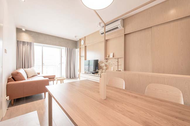 Thiết kế căn hộ chung cư 2 phòng ngủ với nội thất màu vàng nhạt post image