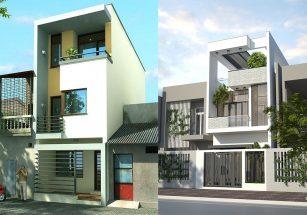 Tư vấn thiết kế kiến trúc mẫu mặt tiền nhà phố đẹp 2 tầng hiện đại thumbnail