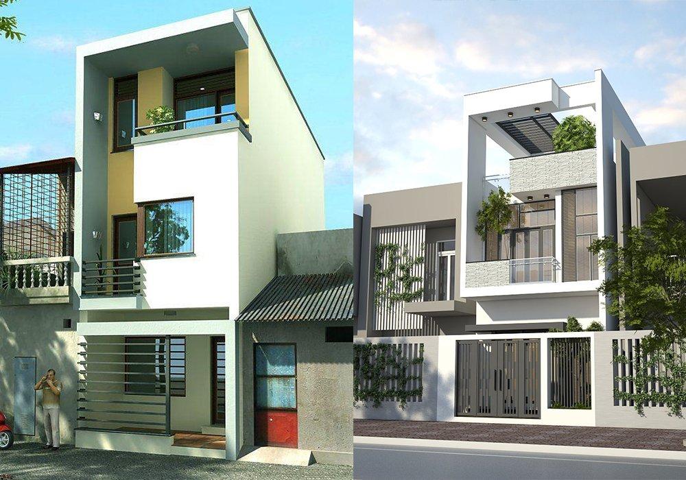 Tư vấn thiết kế kiến trúc mẫu mặt tiền nhà phố đẹp 2 tầng hiện đại post image