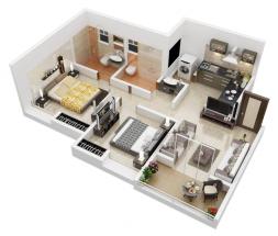 10 mẫu thiết kế nhà ống đẹp 1 tầng 2 phòng ngủ theo lối kiến trúc căn hộ thumbnail