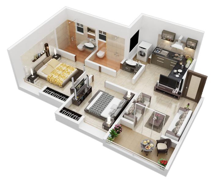 10 mẫu thiết kế nhà ống đẹp 1 tầng 2 phòng ngủ theo lối kiến trúc căn hộ post image