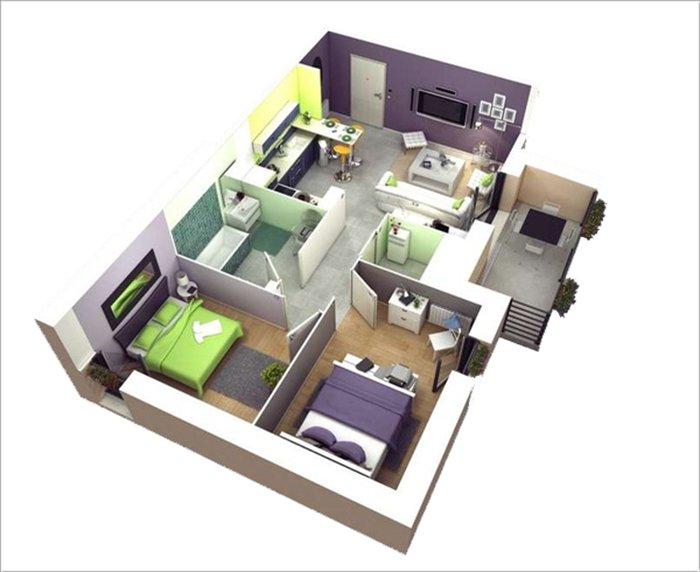 Kết quả hình ảnh cho nhà ống 1 tầng 2 phòng ngủ