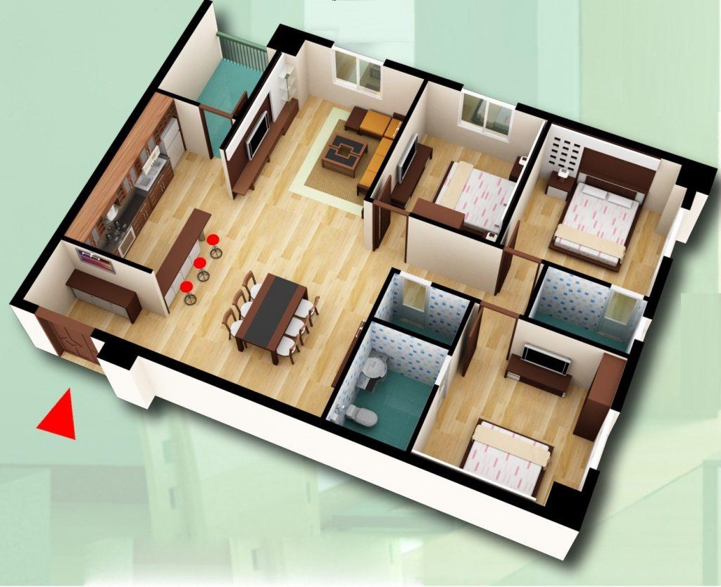 Top 10 mẫu căn hộ 3 phòng ngủ vừa đẹp vừa tiện nghi cho nhà đông người thumbnail