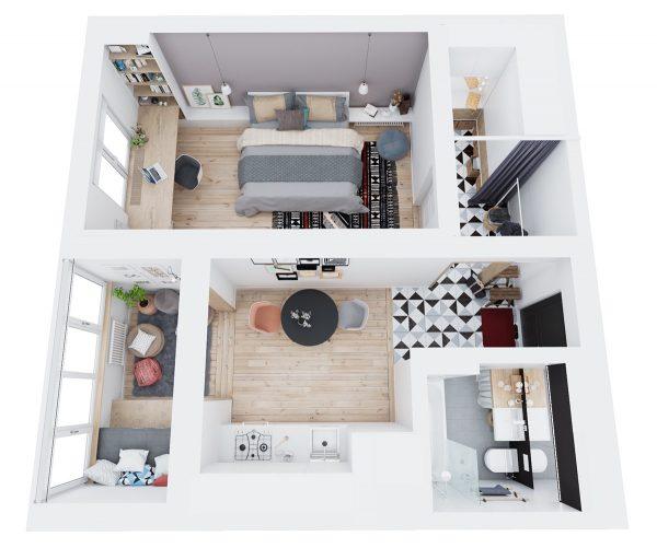 Mẫu thiết kế căn hộ chung cư 50m2 tiện nghi theo phong cách hiện đại thumbnail