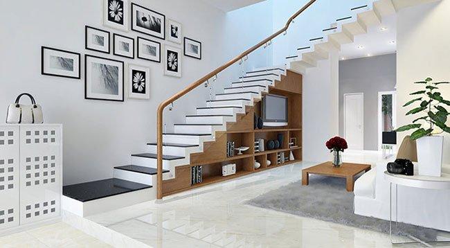 cầu thang đẹp để làm kệ trang trí và kệ tivi