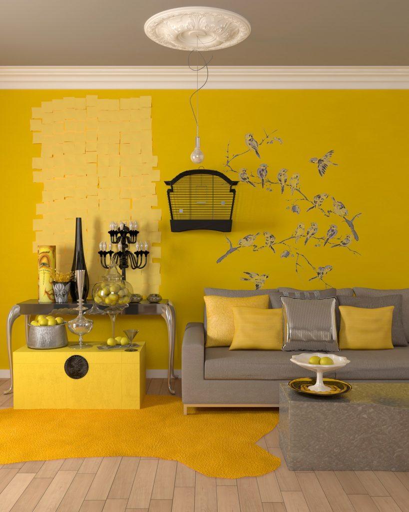 Ngắm nhìn phòng khách được phối màu vàng thời thượng post image