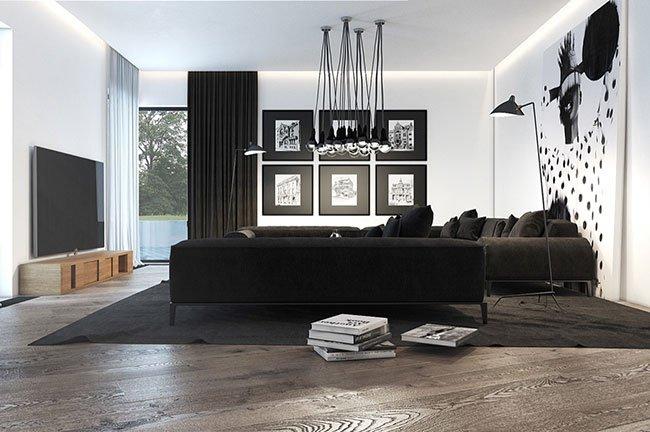 Những mẫu thiết kế phòng khách biệt thự tông màu đen trắng thumbnail
