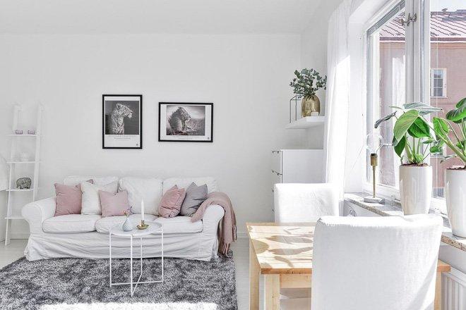 Thiết kế căn hộ 28m2 với nội thất màu trắng đẹp đến khó tin thumbnail