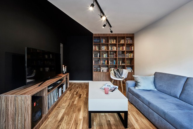 Thiết kế căn hộ nhỏ 40m2 đẹp bất ngờ với 2 tông màu đen trắng thumbnail
