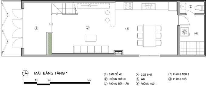 Tư vấn mẫu nhà đẹp 2,5 tầng diện tích 4x18m - Mặt bằng tầng 1