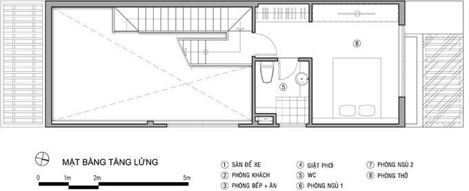 Tư vấn mẫu nhà đẹp 2,5 tầng diện tích 4x18m - Mặt bằng tầng 2