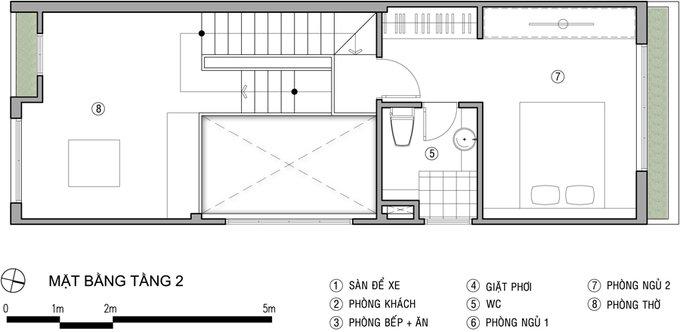Tư vấn mẫu nhà đẹp 2,5 tầng diện tích 4x18m - Mặt bằng tầng 3