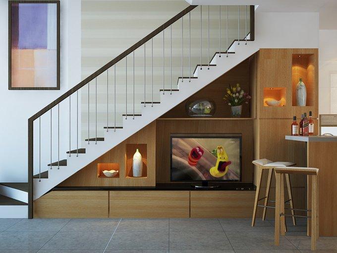 Tư vấn mẫu nhà đẹp 2,5 tầng diện tích 4x18m - Không gian kệ tivi phòng khách+cầu thang