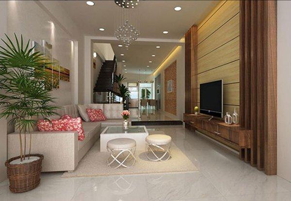 15 mẫu phòng khách nhà ống đẹp lung linh ai cũng phải ngắm nhìn - Mẫu phòng khách nhà ống 4m