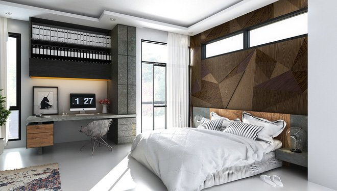 16 mẫu phòng ngủ hiện đại có trang trí đầu giường đẹp mất hồn-9
