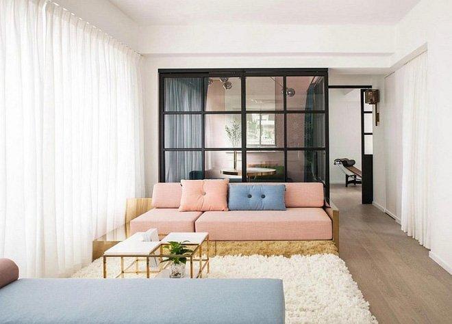 Nội thất cho căn hộ chung cư đẹp dịu dàng với tông màu hồng pastel post image