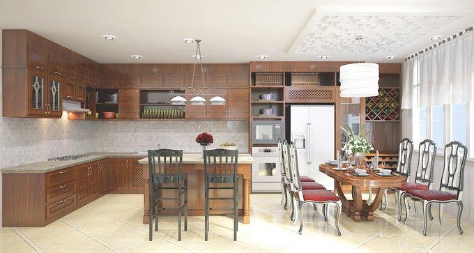 Phòng bếp kết hợp với phòng ăn - Các giải pháp không gian bếp thỏa sức sáng tạo-14