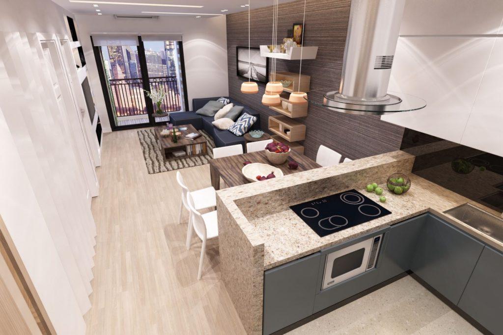Phòng bếp kết hợp với phòng khách - Các giải pháp không gian bếp thỏa sức sáng tạo-4