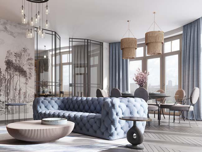 Thiết kế nội thất căn hộ màu sắc trang nhã theo phong cách tân cổ điển thumbnail