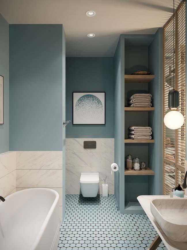 Thiết kế nội thất căn hộ màu sắc trang nhã theo phong cách tân cổ điển-23