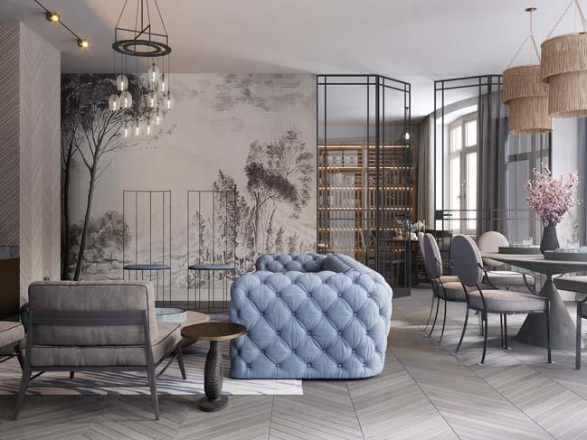 Thiết kế nội thất căn hộ màu sắc trang nhã theo phong cách tân cổ điển-3