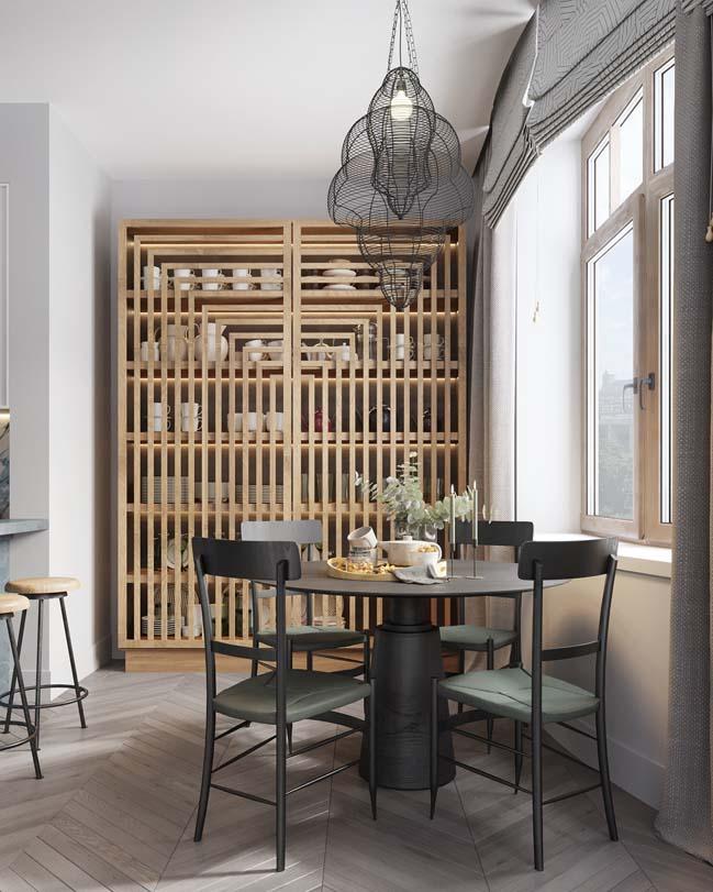 Thiết kế nội thất căn hộ màu sắc trang nhã theo phong cách tân cổ điển-4
