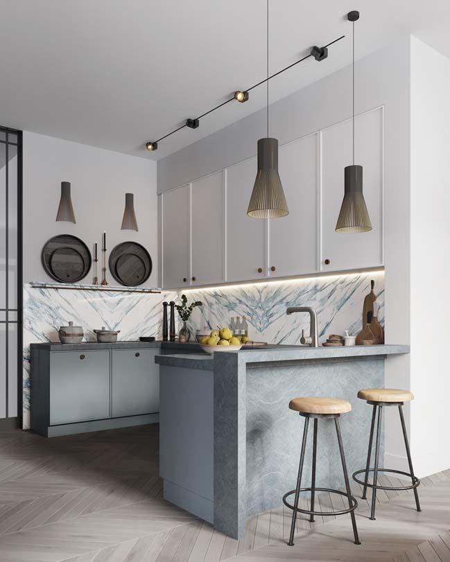 Thiết kế nội thất căn hộ màu sắc trang nhã theo phong cách tân cổ điển-5
