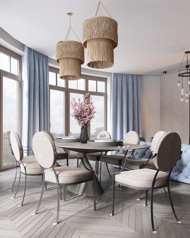 Thiết kế nội thất căn hộ màu sắc trang nhã theo phong cách tân cổ điển