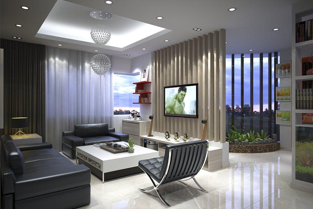 Thiết kế nội thất phòng khách liền phòng bếp rộng đẹp