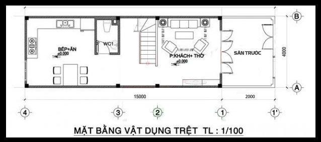 Bản vẽ thiết kế và nội thất nhà ống 3 tầng đẹp hiện đại diện tích nhỏ-2
