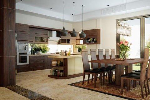 Tủ bếp gỗ óc chó – Hoàn thiện công trình tủ bếp nhà chị Hân – La Phù thumbnail