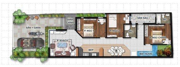 Mẫu thiết kế nhà 1 tầng có 3 phòng ngủ cho nhà mới năm 2018