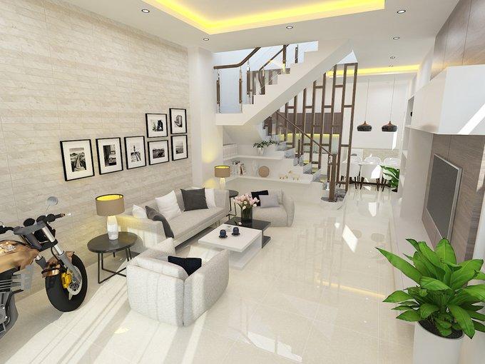 Thiết kế nội thất nhà ống 3 tầng 1 tum 2 mặt tiền giá 1.3 tỷ siêu đẹp thumbnail