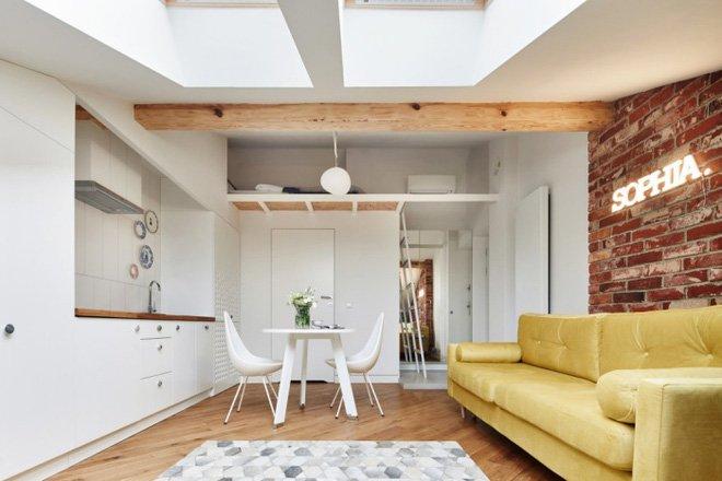 Thiết kế nội thất căn hộ nhỏ nằm trên tầng gác mái trẻ trung và hiện đại