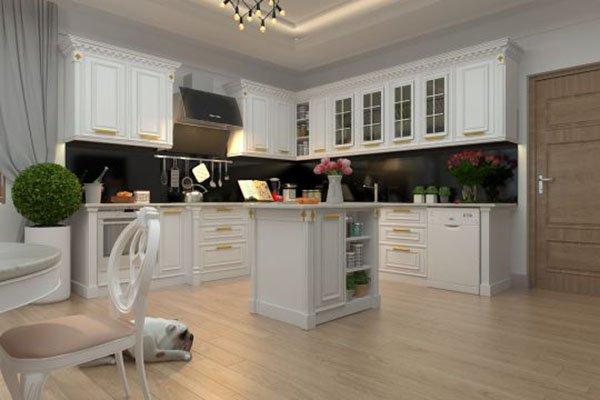 Kết quả hình ảnh cho không gian bếp TÂN cổ điển